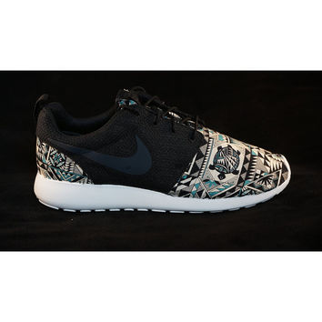 "New Nike Roshe Run Custom Gray Black Green ""Cabo"" Tribal Aztec Edition Mens Shoes Sizes 8 - 15"