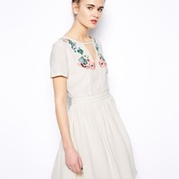 French Connection Melrose Dress with Embroidery Stitch Detail