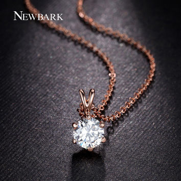 NEWBARK Fashion Pendant Necklaces Round 7mm Cubic Zirconia Diamond 18k Rose Gold Plated Cute Women Jewelry Gift