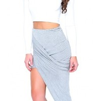 Heather Grey Ruched Wrap Asymmetric High Low Mini Midi Bodycon Skirt