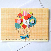 Congrats on Your New Bundle of Joy - Congratulations Balloons Handmade Greeting card for New Baby, Parents --on SALE