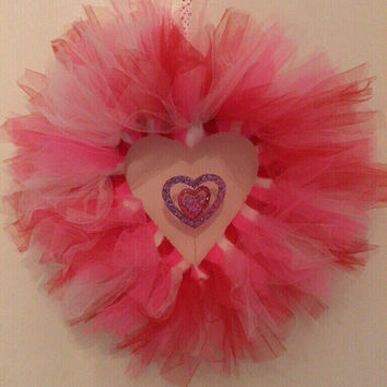 Pink red and white heart shaped Valentine's tulle wreath