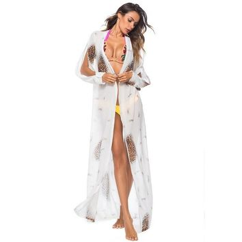 Cover ups Bikini Bikini  Printed Women Sexy Beach Cardigan 2018 Beach Kaftan Bikini Wrap Dress Robe de Plage Bathing Suits KO_13_1