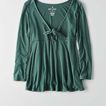 AEO Soft & Sexy Tie Front T-Shirt , Pine