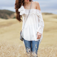 Lydia White Crochet Off the Shoulder Top