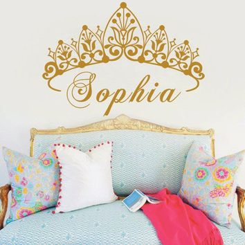 YOYOYU Baby Girl Crown Vinyl Art Wall Sticker Princess Personalized Nursery Custom Girls Name Art Bedroom Decorative Decal Y-604