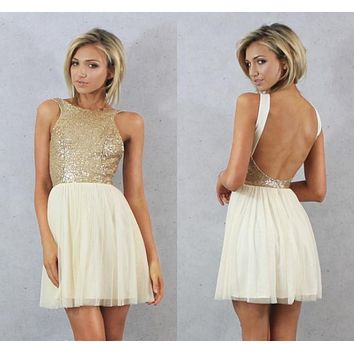 Charmming 2016 Hot Fashion Short Prom Dress Chiffon with Top Champagne Gold Sequins Bridesmaid Dresses