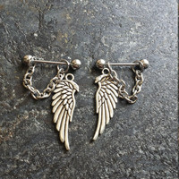 Long Wings - Set of 2 !! 14g (1.6mm) or 16g (1.2mm) Nipple Barbell Jewelry Piercings Accessory 14 16 Gauge