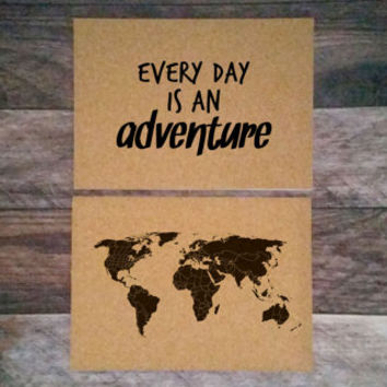 ANNIVERSARY SALE - Every day is an adventure - 2 14x10 Cork Boards - Medium Cork Push Pin Travel Map SET - R E A D Y   T O  S H I P