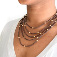 Multi Suede Gold Bead Necklace Brown