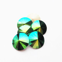 Six Scarabaeus Green 1122 12mm Foiled Swarovski Pointed Back Rivoli DKSJewelrydesigns