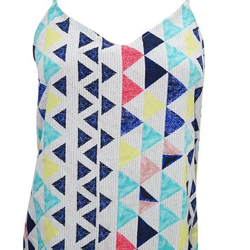 Mogul Interior Emmaline Womens Tank Top Triangles Print Blue Casual Comfy Strap Summer Chic Blouse