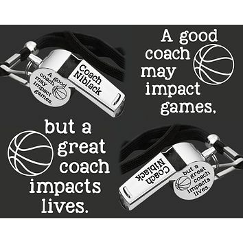 Personalized Coach Whistle   Gift for Coach   Personalized Whistles