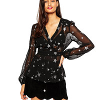 Black Star Print Wrap Blouse