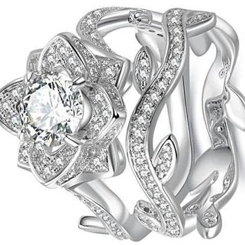 0.80 Carats Round White Cz 925 Sterling Silver Flower Wedding Band Engagement Ring Sets