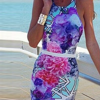Floral Halter Cross-back Mini Dress
