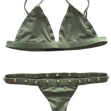 Karlie Top x Cole Bottom Bikini Separates (Army Green Stud)