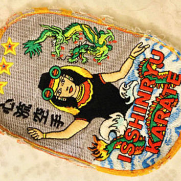Vtg ISSHINRYU KARATE Fist Martial Arts Patch / Sew On Embroidery Patch / Japanese Mermaid Water Goddess Megami / Bright Colorful Asian Art