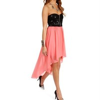 Black/Coral Sequin Hi lo Dress