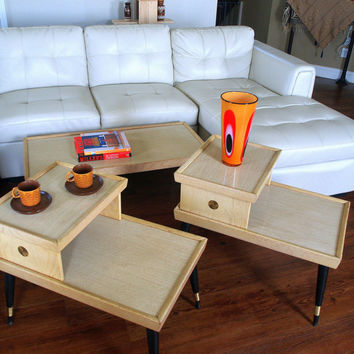 50s Mid Century Furniture Vintage Set Of Blonde Wood Tables Retro Coffee Table 2 Atomi