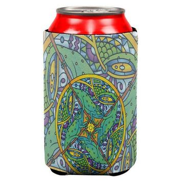 CREYCY8 Mandala Trippy Stained Glass Chameleon All Over Can Cooler