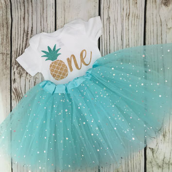 Pineapple one birthday 1 Sparkle Onesuit tutu Beachy 1st Birthday set
