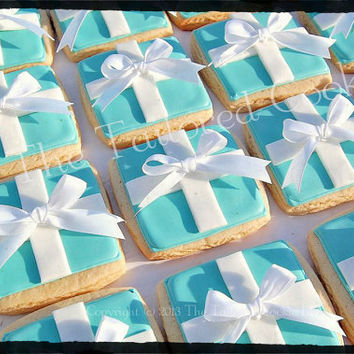 Decorated, Tiffany Blue, Robins-Egg Blue, Box, Shortbread Cookie, Favors