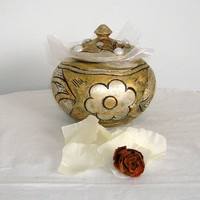 Vintage jewelry box painted and gold and silver patina