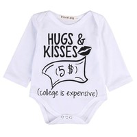 Newborn Baby boys Girls Funny Letter Hug Kiss Bodysuits Onesuit Infant Babies Kids Cute Bodysuit one-pieces Outfits Kids Clothing