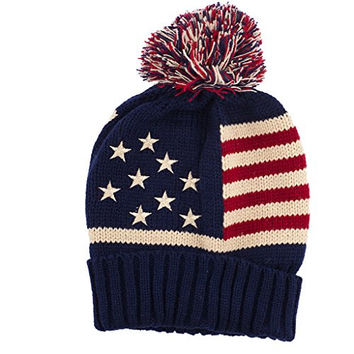 Lux Accessories American Flag Stars & Stripes 4th Of July Red White Blue Pom Pom Winter Hat Skull Cap