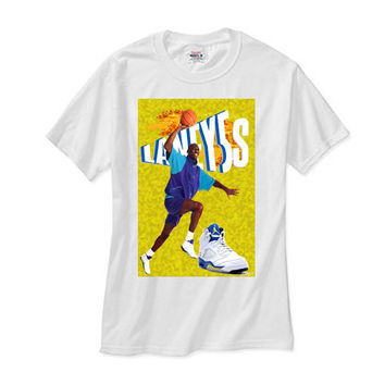 Michael Jordan Retro 5 Laney v white tee