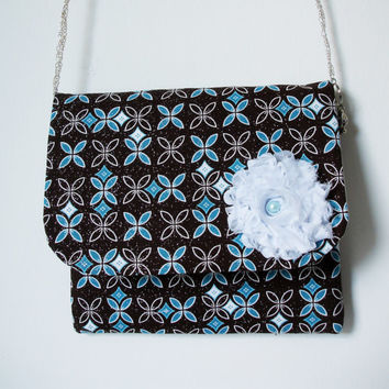 Medium Clutch Purse,Floral Purse,Brown - Aqua Purse,Handmade