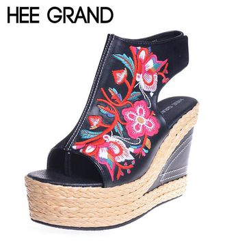 HEE GRAND Women Sandals Chinese Flower Embroider Wedge Pumps Summer Lady Zip Party Fashion Women Shoes Size 34-40 XWZ2381