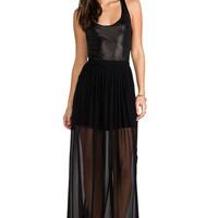 Black Lace Panel Sleeveless Maxi Pu Dress