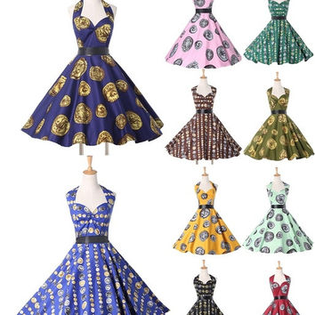 Vintage 1950s 60s Retro Rockabilly Evening Party Dress = 1945999172