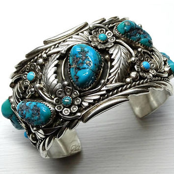 big mens cuff turquoise silver, Native American Navajo J. Lee cuff bracelet turquoise nuggets cuff, large turquoise cuff bracelet silver
