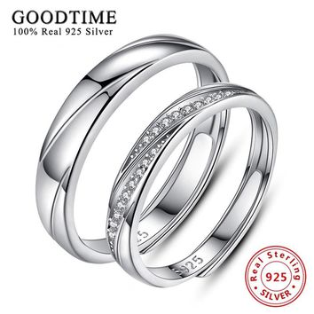 Real Genuine Silver 925 Rings for Women Classic 925 Sterling Silver Engagement Couple Ring Wedding Jewelry joyas de plata 925