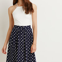 Buttoned A-Line Dotted Skirt
