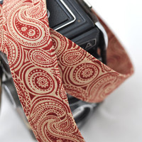 Camera Strap dSLR Maroon Paisley Camera Neck Strap - Gifts for Mom