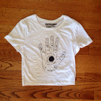 I am the Sun I am the moon hand shirt brandy Melville inspired cropped tee looser fit golden youth apparel cheap Artsy
