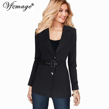 Vfemage Womens Autumn Winter Notch Lapel Tartan Plaid Button Belted Long Sleeve Work Office Business Outwear Blazer Jacket 10081