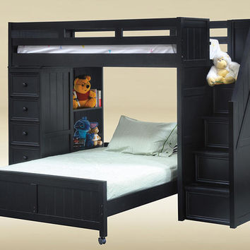 Thurston Black Twin Over Full Stairway Loft Bed