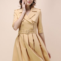 Dignified Demeanor Double Breasted Coat Dress