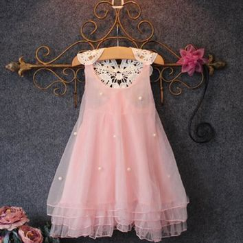 New Children Girl Flower Princess Dress Kids Party Wedding New Year Lace Tulle Tutu Baby Vestidos Dresses 2-7Y