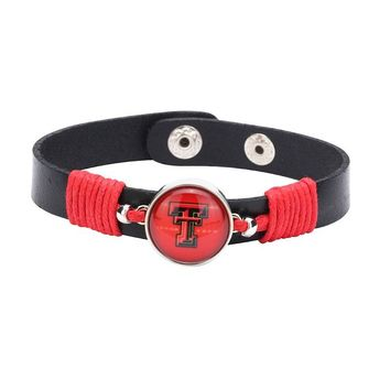 10pcs/lot! Adjustable Premium Leather Ginger Snaps Bracelet with a Texas Tech Red Raiders 18mm Snap for Men,Women Teens #1024