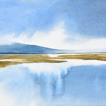 Peaceful Art Watercolor Print, Watercolor Painting, Sea Watercolor Art Landscape Painting, Contemporary Print,Blue Art,Fine Art Giclee Print