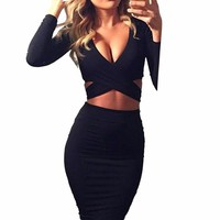Long Sleeve Elastic Cotton Warm Party Bandage Dress