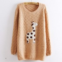Super Adorable Cartoon Giraffe Loose Pullover Sweater Pink