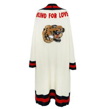 One-nice™ Gucci Women Sequin Tiger Head Letter Embroidery Knit Long Sleeve Medium Long Section Cardigan Coat