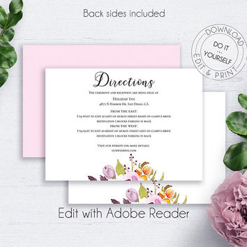 Bohemian Wedding Directions Card, Invitations, Marsala Invitation, Details Card, Insert Card, Details Template, Wedding Insert Cards